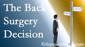 Largo back surgery for a disc herniation is an option to be carefully studied before a decision is made to proceed.