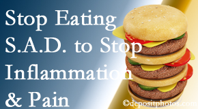 Largo chiropractic patients do well to avoid the S.A.D. diet to decrease inflammation and pain.
