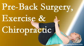 Hollstrom & Associates Inc offers beneficial pre-back surgery chiropractic care and exercise to physically prepare for and possibly avoid back surgery.