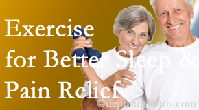 Hollstrom & Associates Inc incorporates the recommendation to exercise into its treatment plans for chronic back pain sufferers as it improves sleep and pain relief.