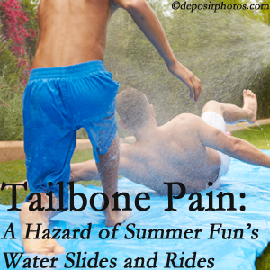Hollstrom & Associates Inc uses chiropractic manipulation to ease tailbone pain after a Largo water ride or water slide injury to the coccyx.