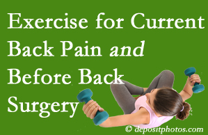 Largo exercise helps patients with non-specific back pain and pre-back surgery patients though it is not often prescribed as much as opioids.